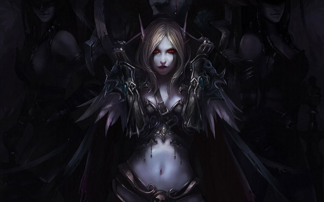 WOMENS WARRIORS - art Sylvanas Windrunner WarCraft III game dark wallpaper