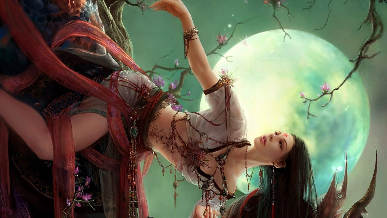 WOMEN WARRIOS - art fantasy girl moon wallpaper