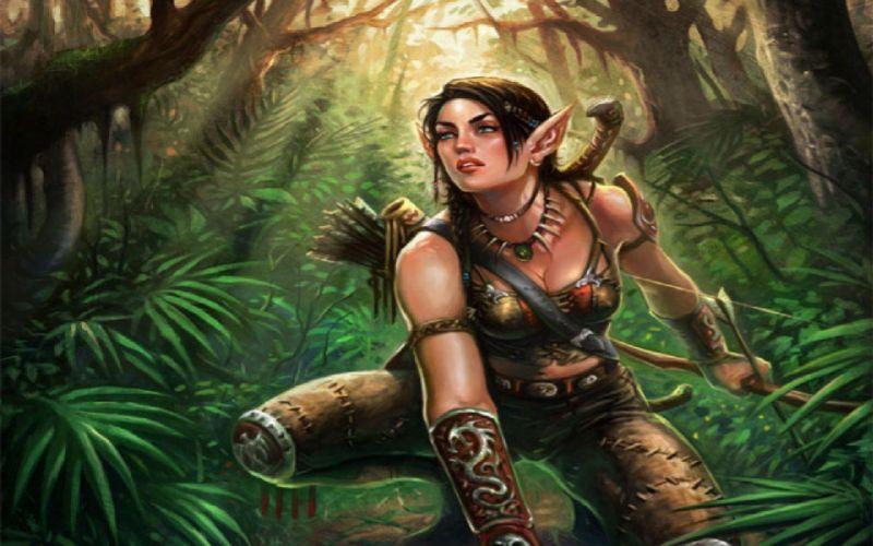 WOMEN WARRIOS - art hunter girl jungle wallpaper