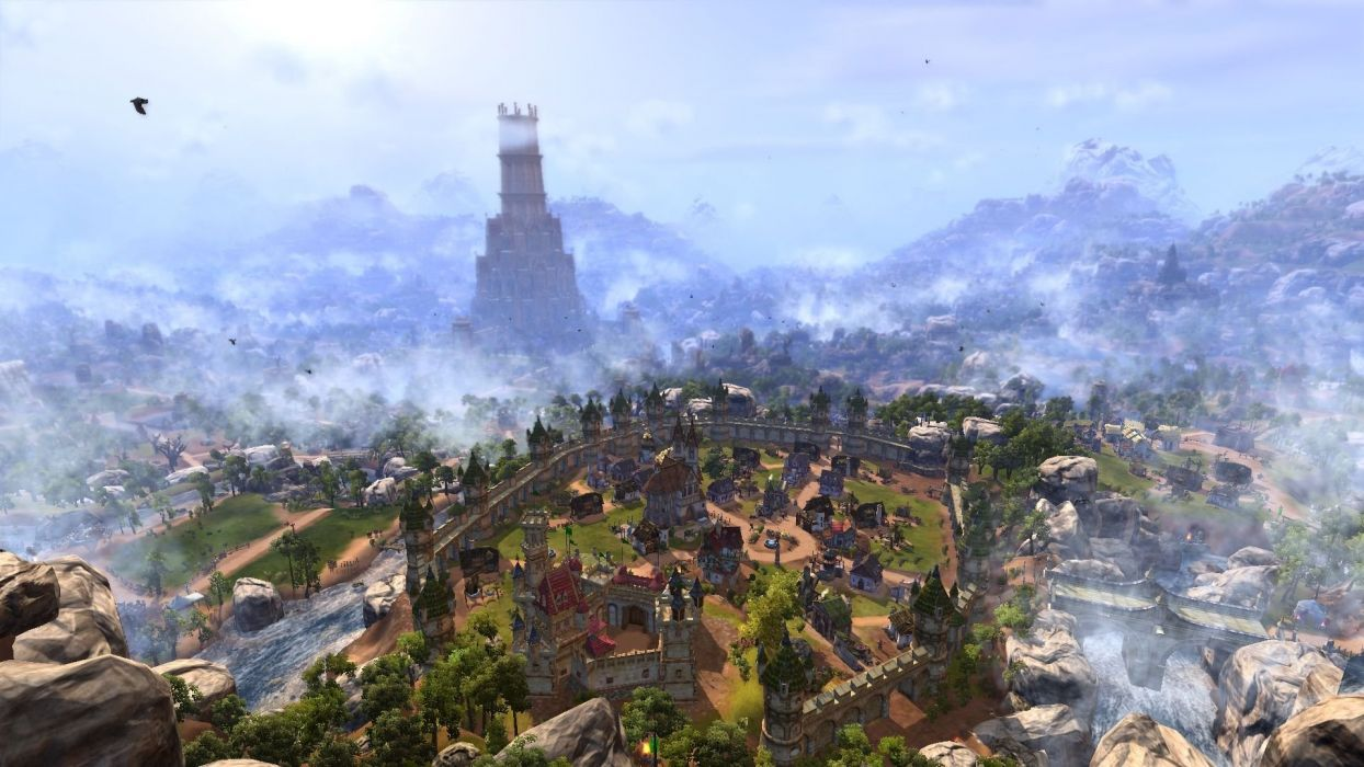 SETTLERS ONLINE city building strategy fantasy adventure rts mmo empire 1tso town village rustic detail wallpaper