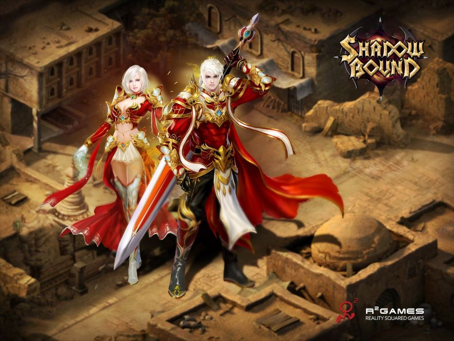 SHADOWBOUND fantasy mmo rpg action fighting adventure quest magic 1sbound magic warrior girl babe artwork poster wallpaper