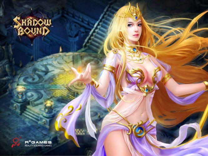 SHADOWBOUND fantasy mmo rpg action fighting adventure quest magic 1sbound magic warrior girl babe artwork poster wallpaper