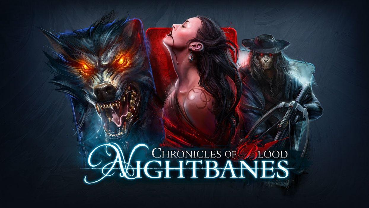 NIGHTBANES Online fantasy card horror dark quest action fighting rpg mmo superhero 1nbanes heroes hero warrior werewolf vampire blood wallpaper
