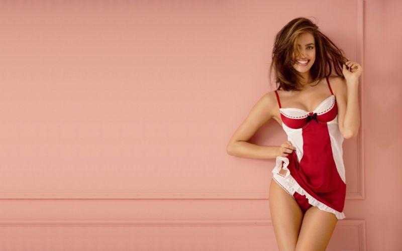SENSUALITY - Irina Sheik girl underwear playful smile wallpaper