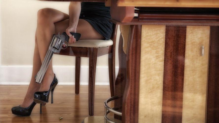 WOMEN AND GUNS - sensuality girl brunette legs crossed magnum revolver chair wallpaper