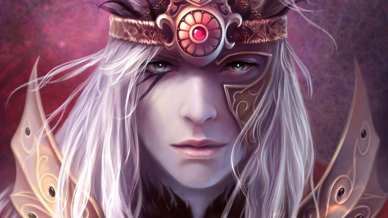 male fantasy face green eyes lips beautiful white long hair wallpaper