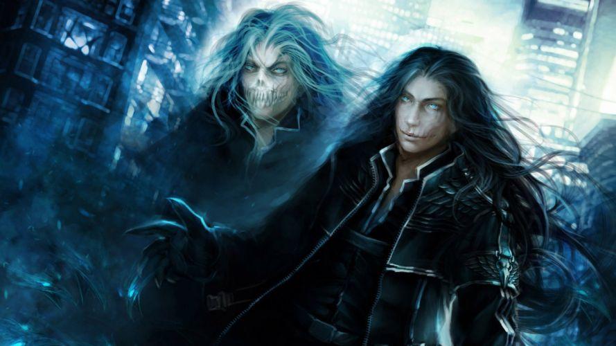 fantasy ghost long hair male city wallpaper