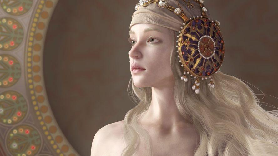 Girl Fantasy Face Green Eyes Lips Beautiful Long Hair Blonde Wallpaper 1920x1080 639124