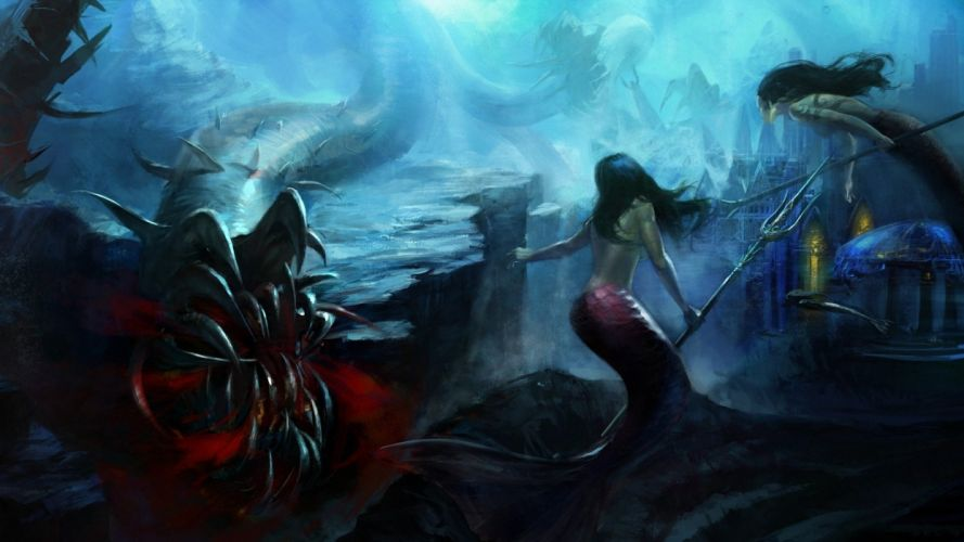 fantasy mermaid sea girl monster wallpaper