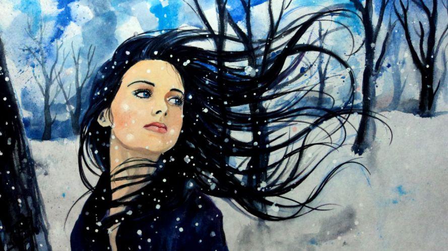 painting art girl snow winter tree blue eyes wallpaper