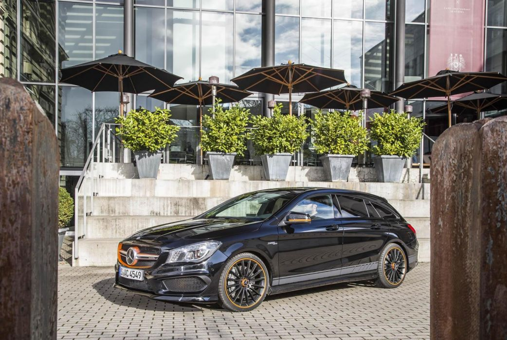 Mercedes Benz CLA 45 AMG Shooting Brake OrangeArt Edition wagon cars black 2015 wallpaper