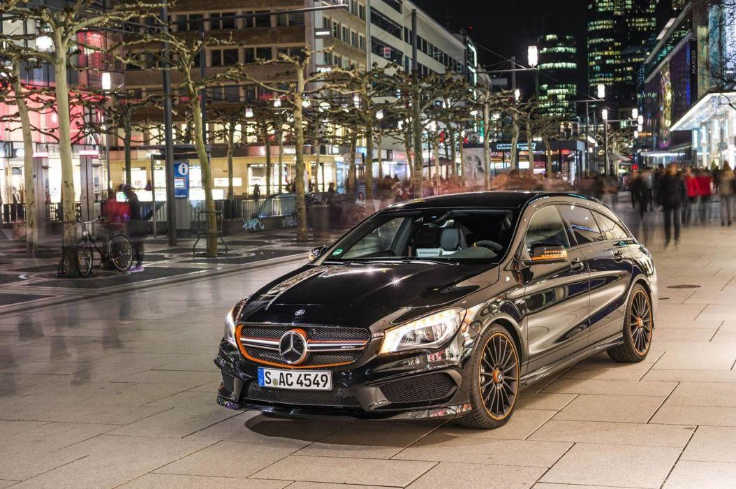 Mercedes Benz CLA 45 AMG Shooting Brake OrangeArt Edition wagon cars black 2015 wallpaper