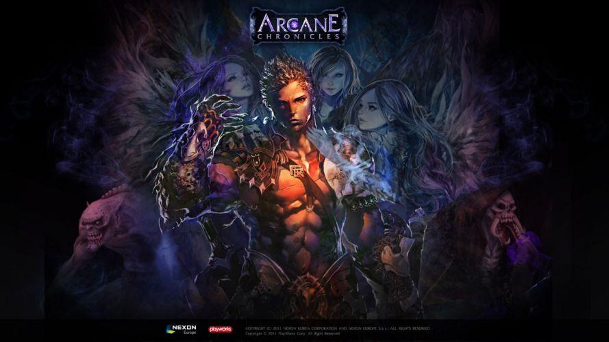 ARCANE CHRONICLES fantasy mmo rpg fighting action medieval dark 1arcc hearts warrior poste wallpaper