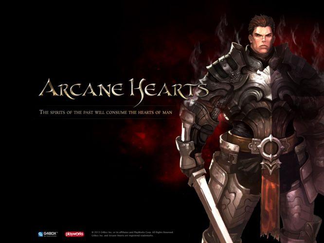 ARCANE CHRONICLES fantasy mmo rpg fighting action medieval dark 1arcc hearts warrior poster wallpaper