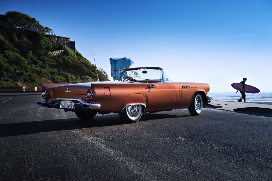 1957 Thunderbird T-Bird Special Supercharged Ford Thunderbird classic road cars old beaches landscape sea wallpaper