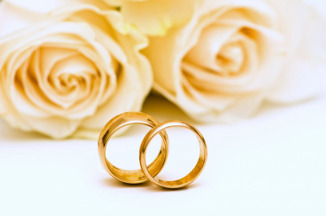 Wedding rings roses flowers gold lovers yellow romance emotions Marriage couple girls wallpaper
