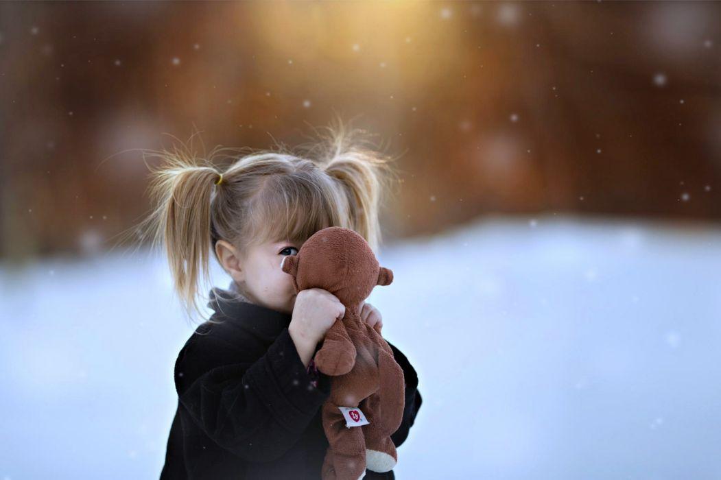 children kids snow landscapes doll teddy little girls joy happy fun life wallpaper