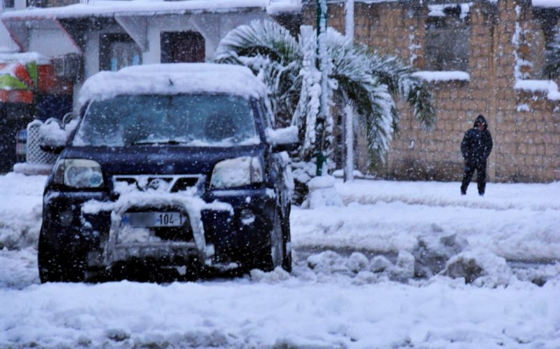 2015 africa algeria cars City Cold heavy houses landscapes North snow tebessa Trees Winter chaoui amazigh palms nissan wallpaper