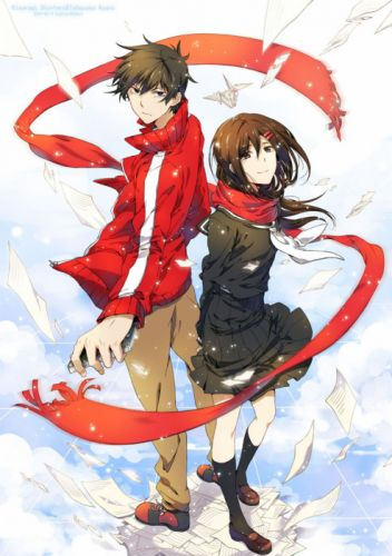 kagerou+project anime series couple girl guy red school uniform wallpaper