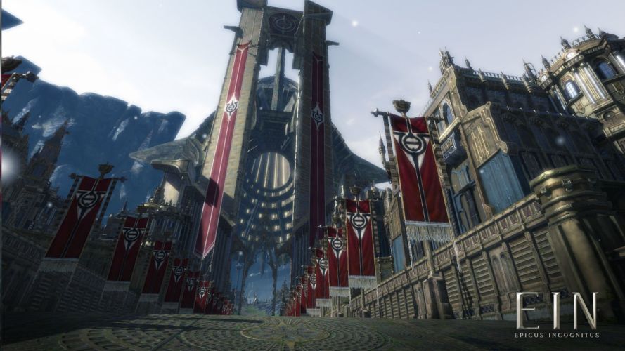 EIN Epicus Incognitus Online mmo rpg action fighting 1eei adventure sci-fi poster city cities castle wallpaper