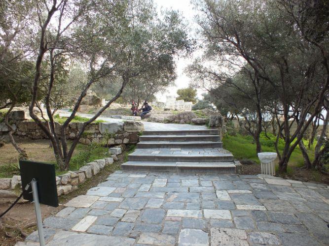alley Acropolis stones pavement trees wallpaper