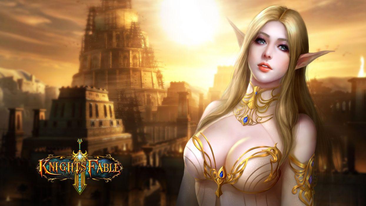 KNIGHTS FABLE fantasy mmo rpg online hero heroes King Arthur action adventure fighting poster elf elves girl babe warrior wallpaper