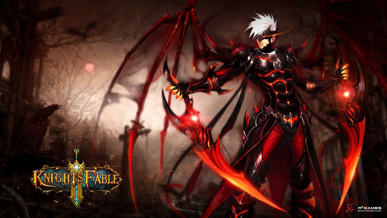 KNIGHTS FABLE fantasy mmo rpg online hero heroes King Arthur action adventure fighting poster warrior demon skull dark wallpaper