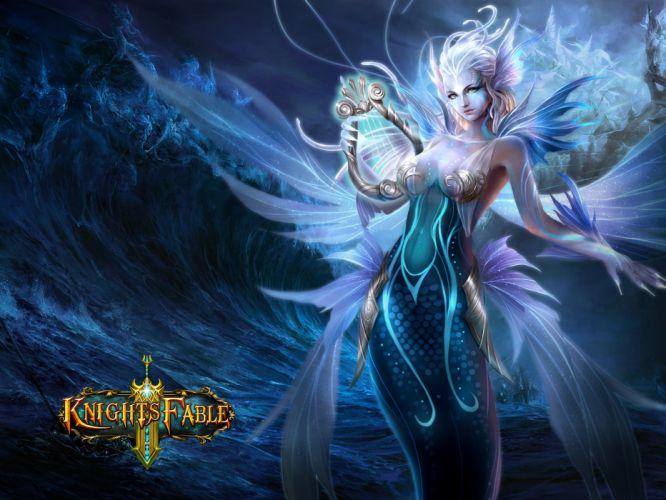 KNIGHTS FABLE fantasy mmo rpg online hero heroes King Arthur action adventure fighting poster elf elves girl babe warrior angel wallpaper