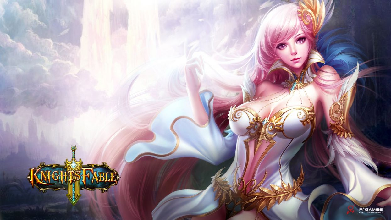 KNIGHTS FABLE fantasy mmo rpg online hero heroes King Arthur action adventure fighting poster elf elves girl babe warrior wallpaper