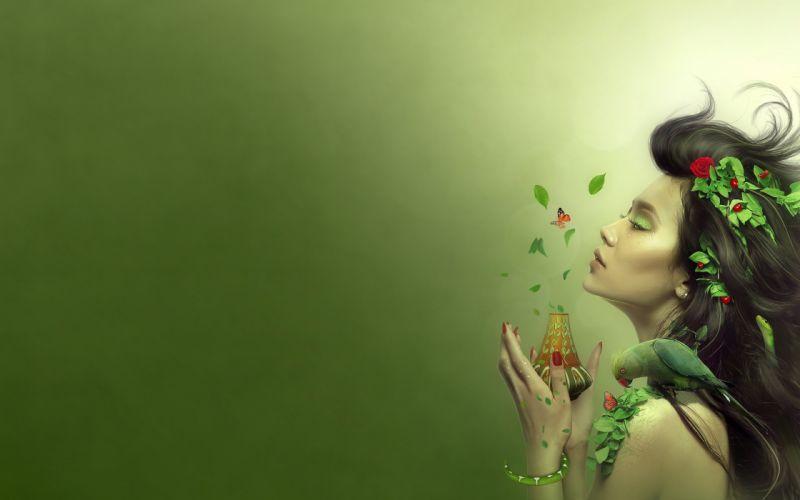 ART - girl spring fragrance butterfly parrot wallpaper