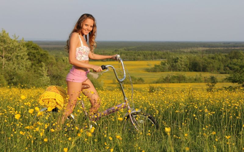 SENSUALITY - girl blonde model bicycle fields tops short nature wallpaper