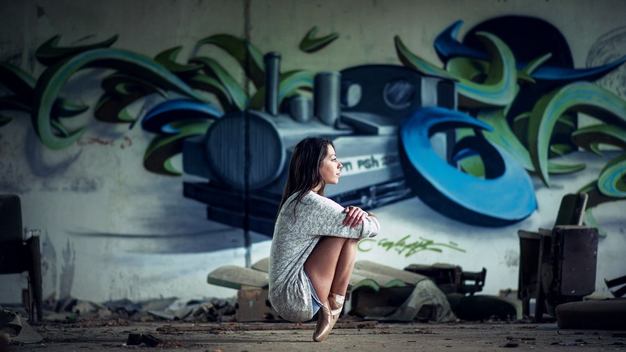 SENSUALITY - girl brunette ballerina graphite wallpaper