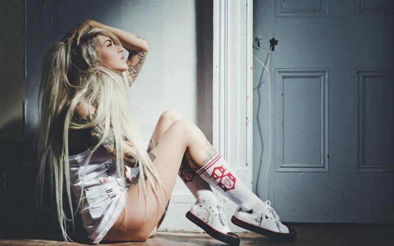 SENSUALITY - Sarah Fabel girl blonde tattoo wallpaper