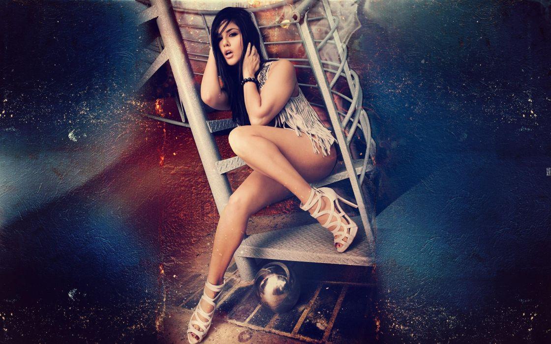 SENSUALITY - Sunny Leone girl brunette ladder wallpaper