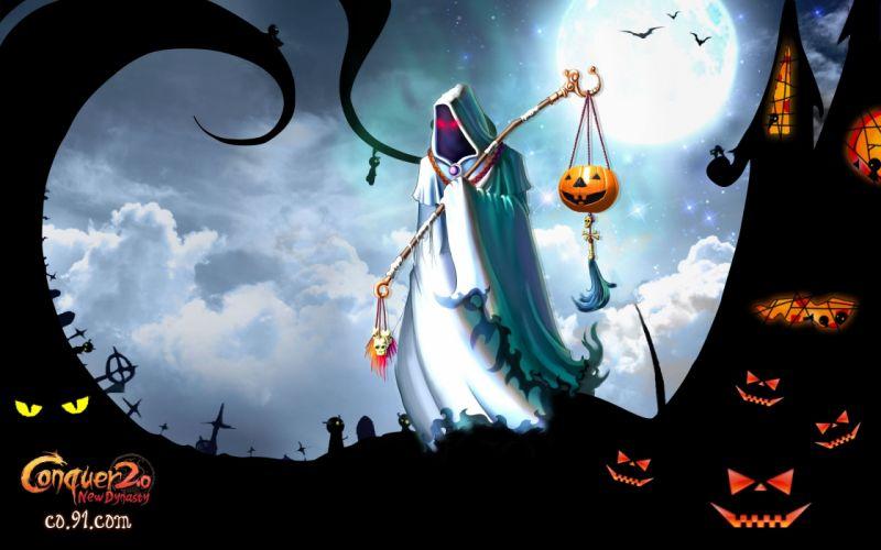 CONQUER ONLINE fantasy mmo rpg martial action fighting 1cono warrior poster dark reaper halloween wallpaper
