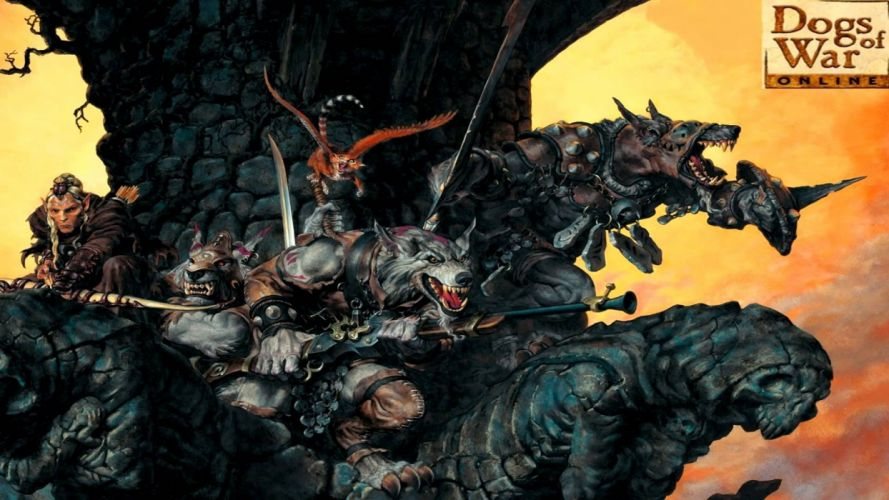 DOGS Of WAR ONLINE tactical fantasy mmo rpg action fighting confrontation 1dowo arena strategy warrior poster wallpaper