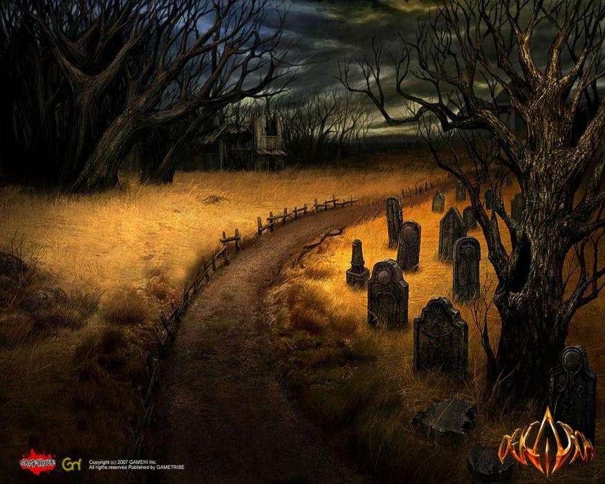 DEKARON ONLINE fantasy mmo rpg middle ages medieval 1dekao action fighting 2moons halloween dark graveyard grave cemetery wallpaper