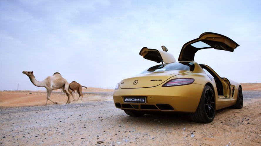 mercedes benz sls amg yellow golden camels desert landscapes animals cars supercars road speed motors wallpaper