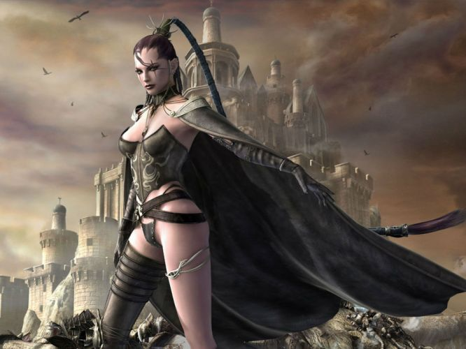 LAST CHAOS fantasy mmo rpg action fighting 1lchaos action warrior dungeon adventure online babe girl girls castle dark gothic wallpaper