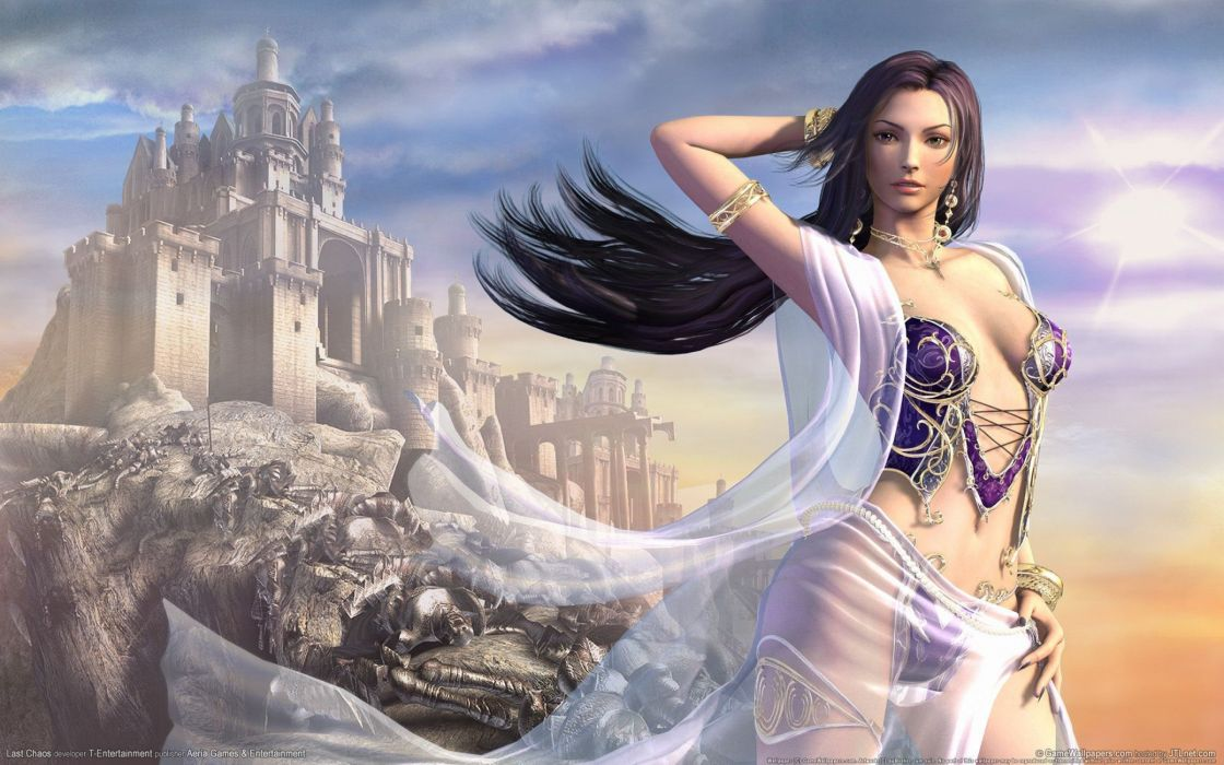 LAST CHAOS fantasy mmo rpg action fighting 1lchaos action warrior dungeon adventure online babe girl girls castle wallpaper