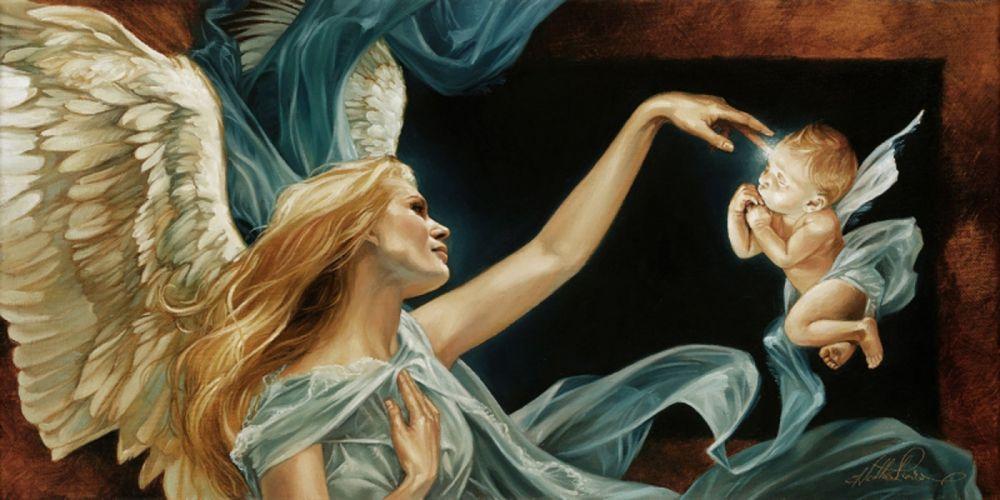 fantasy angel baby wings blonde long hair mom children wallpaper