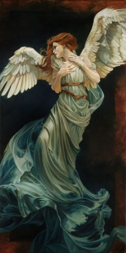 heartbroken angel fantasy red hair girl wings dress wallpaper