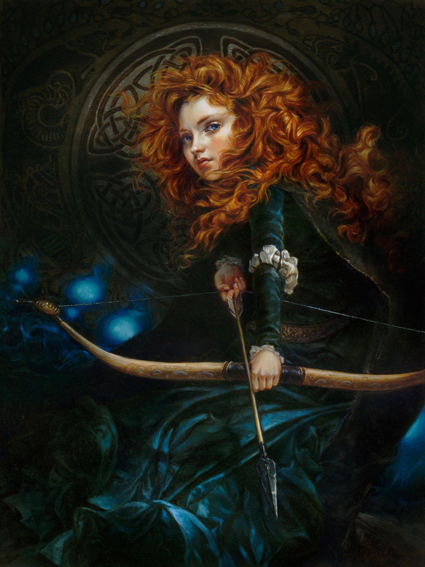 Merida Disney Cartoon Character Red Hair Girl Bow Arrow