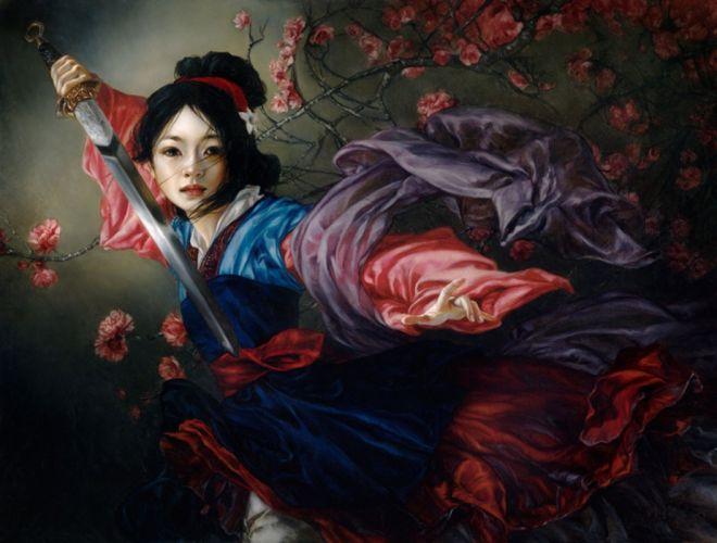 nulan sword fantasy flower girl wallpaper