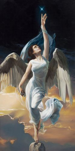 to-touch-a-star fantasy woman wings angel sky clouds wallpaper