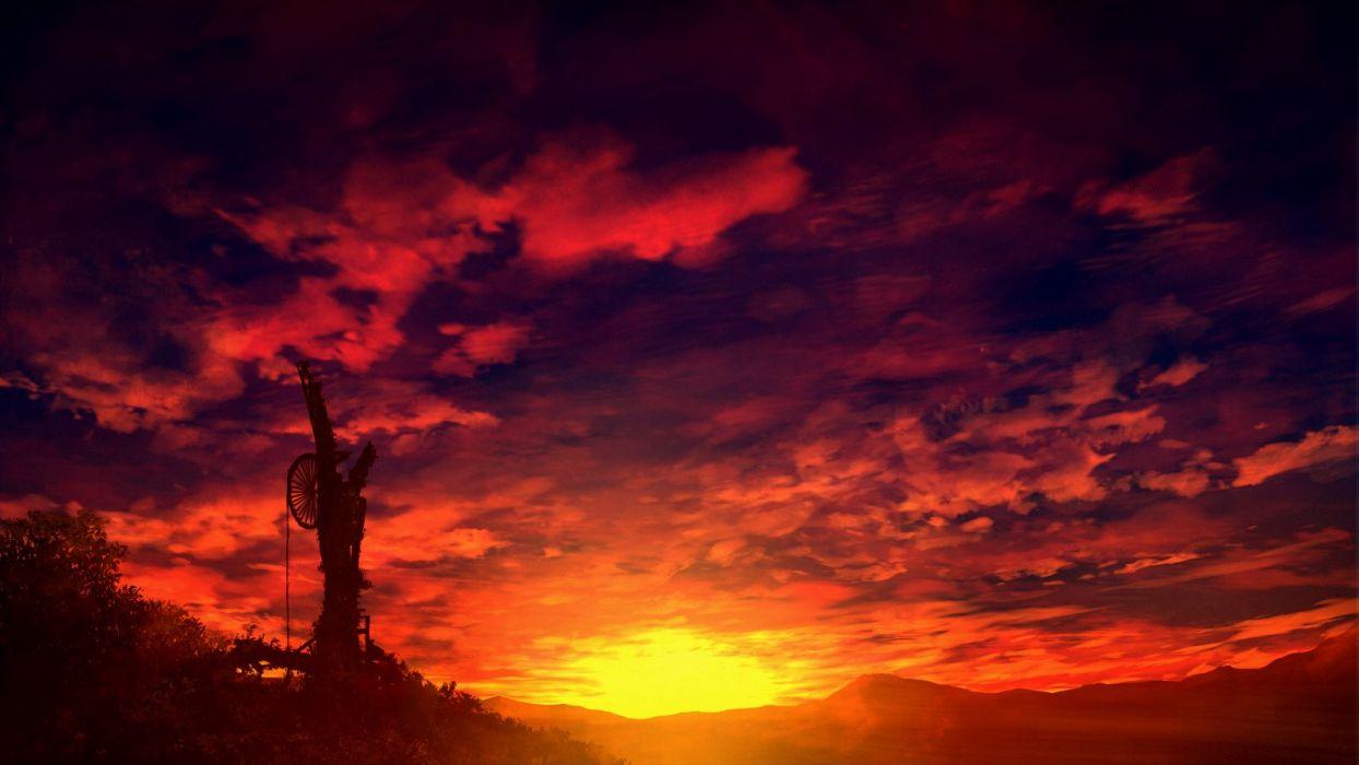 Original anime landscape sunset sky cloud beautiful red - Anime sky background ...