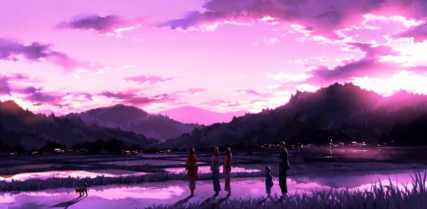 Original Anime Landscape Sunset Sky Cloud Beautiful Pink