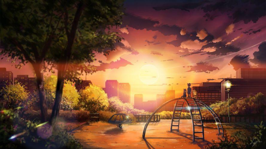 Original anime landscape sunset sky cloud beautiful tree