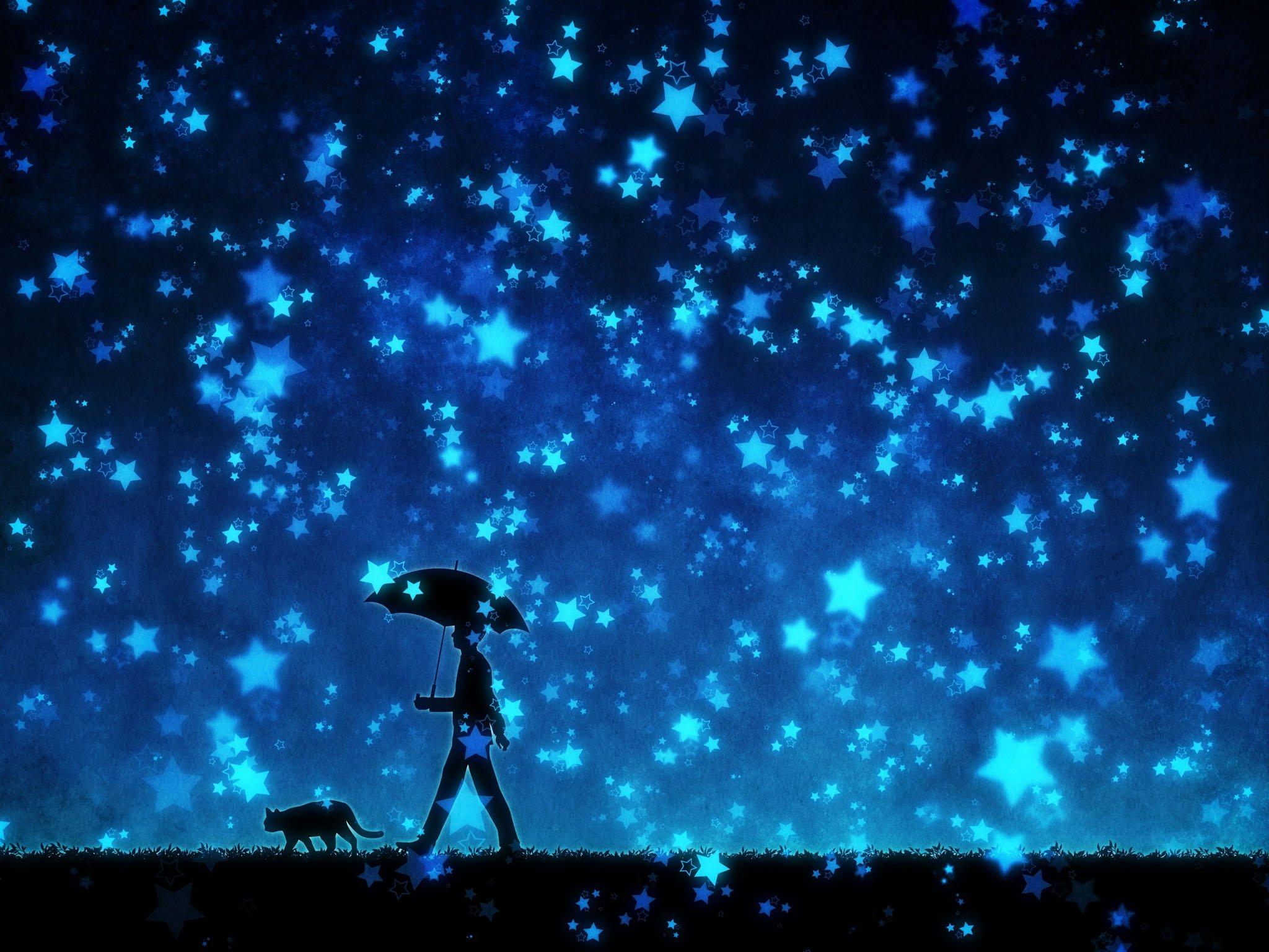 Original stars umbrella cat male anime blue night - Blue anime wallpaper ...