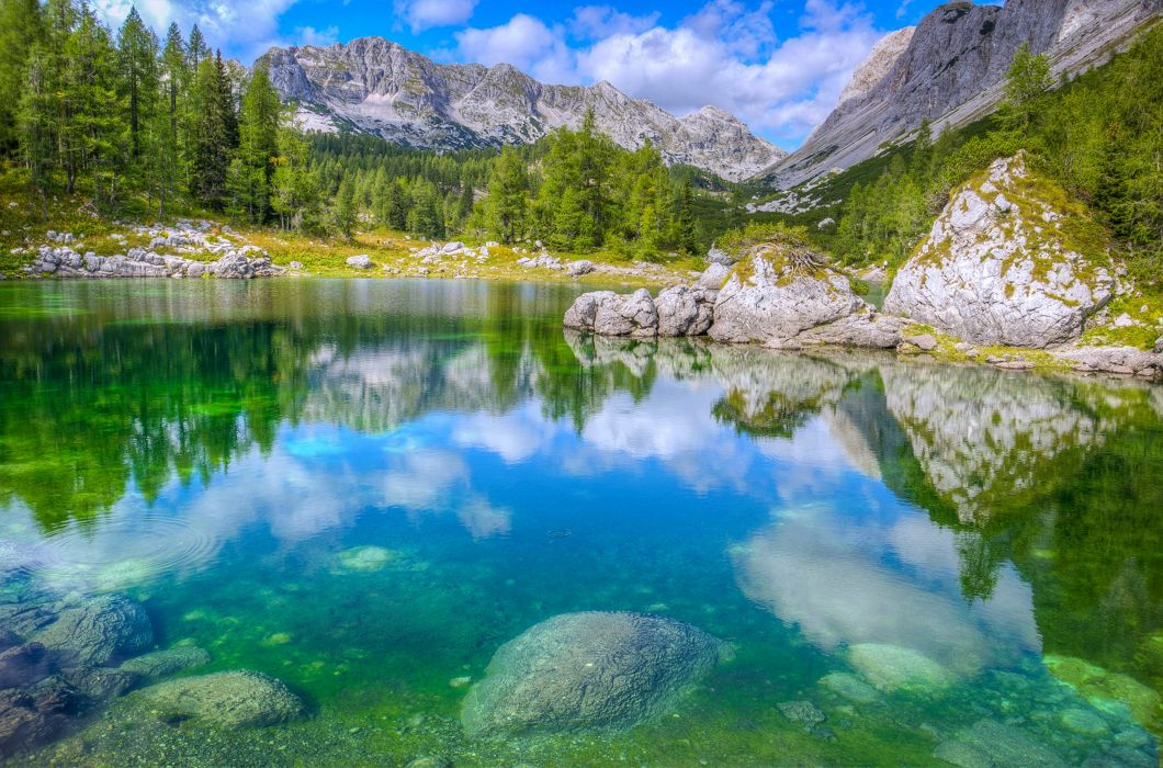 Slovenia lakes stones rocks mountains nature landscapes trees sky clouds spring beauty relax quiet wallpaper
